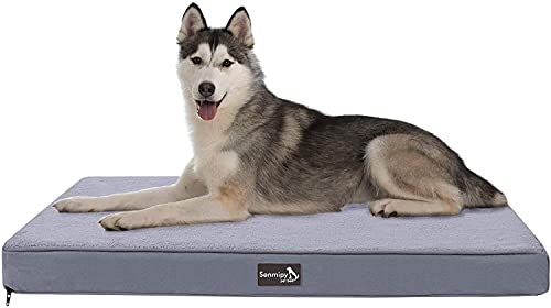 Senmipy Orthopedic Memory Foam Dog Beds for Large Dogs, 2-Layer Thick Waterproof Dog Bed, Washable Dog Bed Mattress with Removable Cover (Large, Gray)