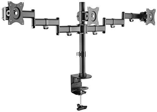 ICY BOX Monitor Halterung für 3 Monitore bis 8 kg und 27 Zoll, Tischbefestigung, Stahl, Schwarz