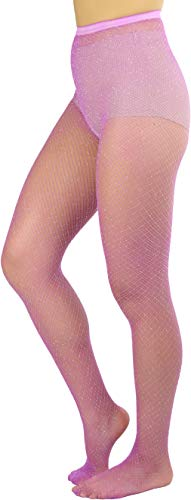 ToBeInStyle Womens Spandex Seamless Glittery Fishnet Pantyhose Tights Hosiery - Lavender With Silver Glitter - One Size: Regular