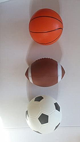 Mini Pro Ball Set Rubber Basketball 7.5 Football 7 Soccer Ball 7 Ages 3+ by Midwood Brands