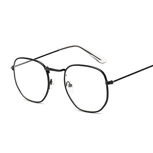 NJJX Montura De Gafas De Moda Para Mujer, Anteojos Ópticos De Metal Cuadrado Vintage, Lentes Transparentes Transparentes, Gafas Cómodas Y Ligeras, Blacktrans