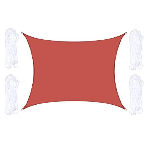 Tela Toldo, Sombra Impermeable A Prueba De Agua con Cuerdas De Montaje, Vela De Sombra De Sol Roja con Anillos D De Aluminio, Fácil De Instalar, Varios Tamaños(Size:4X8m/13.1X26.2ft)