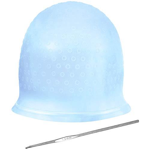 NATUCE Gorro de Silicona para Hacer Mechas, Gorro para Mechas Peluqueria, Gorro para Mechas y Aguja (Azul)