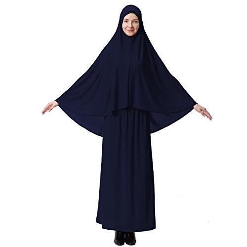 XINFU Muslim Islamic Women's khimar 2pcs Sets Soft Distinctive Prayer Dress Hijab Abaya Suit - Navy