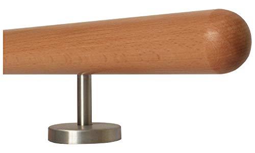 Handlauf Set Holz Buche 45mm rund Lack 900mm L/änge inkl 2 Edelstahlhalter