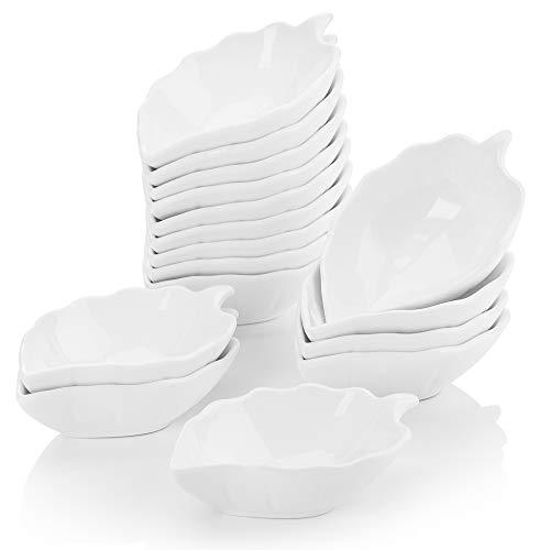 MALACASA Serie Ramekin.dish Cuencos para Aperitivos, Salsa 12 Piezas Vajilla de Porcelana (4.5' 11.5 * 7 * 3cm) Super Mini Tazón de Postre Marfil Blanco