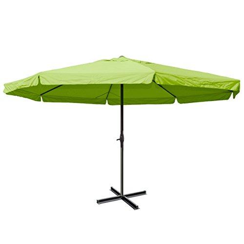 Sonnenschirm Meran Pro, Gastronomie Marktschirm mit Volant Ø 5m Polyester/Alu 28kg - grün ohne Ständer