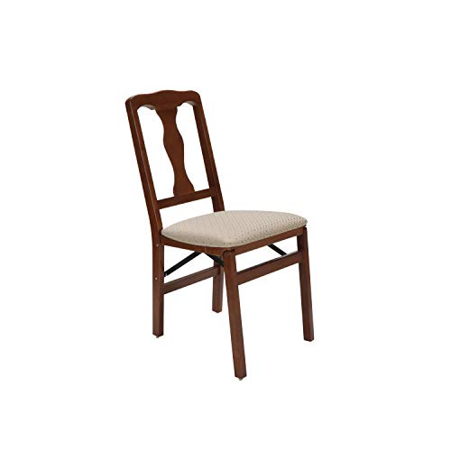 Meco STAKMORE Queen Anne Folding Chair Cherry Finish, Set of 2,