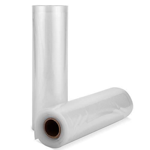 SAMEBOO Profi-Folienbeutel für Lebensmittel, 20 * 500cm 2 Rollen für alle Balken Vakuumierer, BPA-frei,sehr Stark & Reißfest Kochfest,Wiederverwendbarer Vakuumbeutel für Folienschweißgeräte geeignet