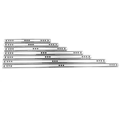 BE-TOOL - Rieles deslizadores de metal para cajón, 17 mm de ancho para cajones de muebles y cajones de profundidad, plateado