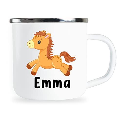 Taza personalizada para niños con nombre y lindo diseño de flecha, esmaltada, regalo individual para niños, niñas, cumpleaños, taza de metal esmaltada