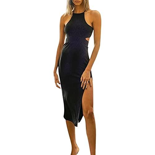 Chunxiao Vestido halter sexy de color sólido sin mangas costilla de punto sin espalda Y2k vestido de mujer vestido de una pieza dividido lateral de ajuste cerrado