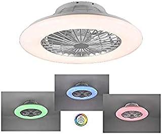 Ventilateur de plafond RGB 3 couleurs, plafonnier moderne, éclairage LED, lumière dimmable, effet ciel étoilé, rotation 3 ...