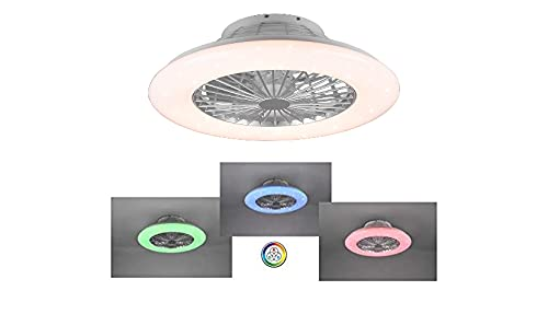 Ventilador de techo RGB 3 colores plafón moderno iluminación LED luz regulable efecto cielo estrellado Vortice 3 intensidad silencioso temporizador instrucciones italiano Ø 50 cm
