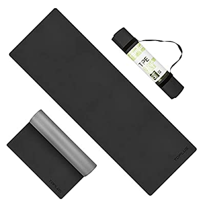 TOPLUS Yoga Mat, Upgraded Non-Slip Texture Pro Yoga Mat Eco Friendly Exercise & Workout Mat with Carrying Strap - for Yoga, Pilates and Floor Exercises (1/4-1/8 inch) (Black TPE, 1/4 inch)