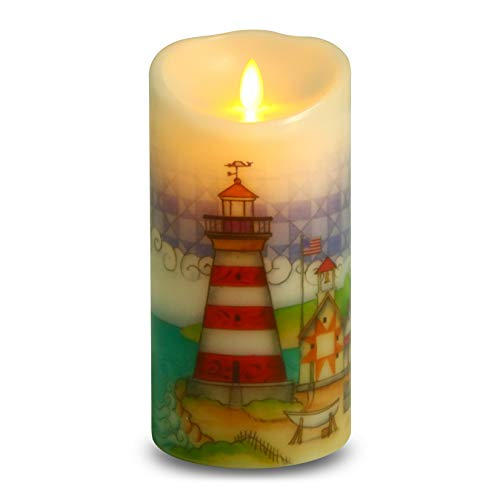 Ksperway Flameless Wax Candles, Moving Wick LED Pillar Candle with Blow ON/Off Control,Timer and Remote 3.5 by 7 Inch Picture (Lighthouse)