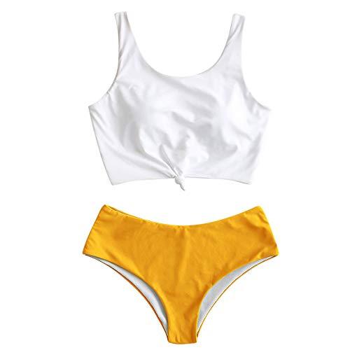 ZAFUL Costume da bagno da donna, imbottito, con nodi, Giallo-4., M