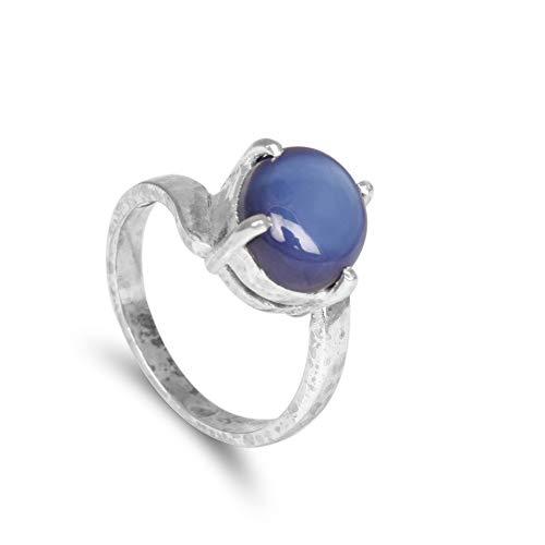 Gemhub Anillo de plata de ley 925 con diseño de estrella azul de 6 rayos, solitario, anillo de boda y fiesta, anillo de mujer y hombre