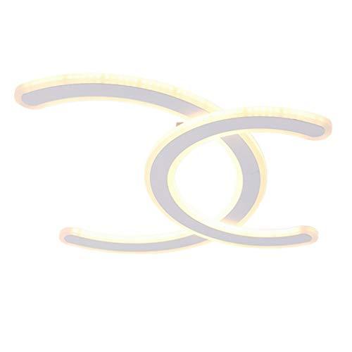LED Plafonnier Minimaliste Salon Salle à Manger Chambre Acrylique Double Plafonnier en C Forme Lampe Moderne Cuisines Luminaire Plafonnier Éclairage Plafonnier Plafond Projecteur Dimmable Ø48cm 58w
