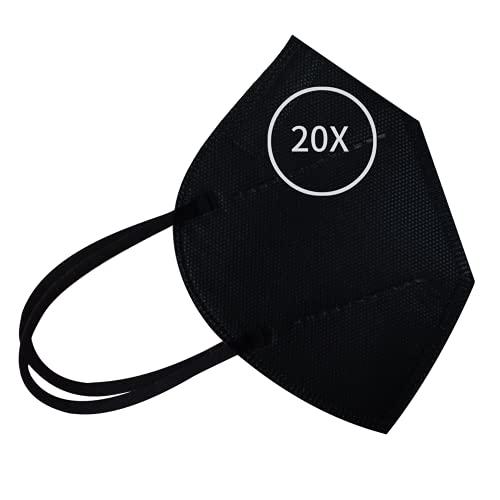 FFP2 Maske Schwarz 20 Stück CE Zertifiziert-EN149:2001+A1:2009 Atmungsaktives Schutzmaske