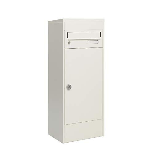 MEFA Paketbriefkasten Balsa 483 (Farbe weiß, Postkasten mit Schloss, Größe 1032x410x310 mm) 483111M