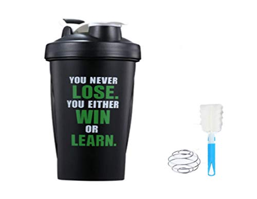 DWMM Protein Shaker Bottle Shaker Cup with 304 stainless steel Mixer Ball and cup brushes| BPA Free Plastic Leakproof Sports Water Bottle for Protein Shakes, Nutrition | for sports, fitness, fat loss