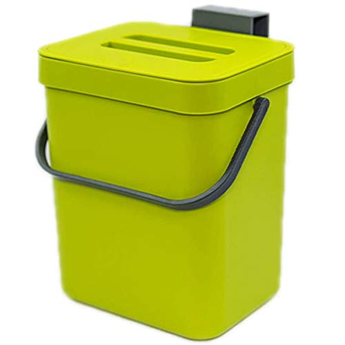 SODIAL Kitchen Compost Bin for Countertop or Under Sink Composting, Ndoor Home Trash Can with Removable Airtight Lid Green