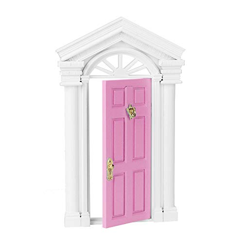 Muebles en miniatura 1:12 puerta de casa de muñecas exquisito duradero Mini puerta de casa de muñecas puerta exterior muebles de casa de muñecas para casa de muñecas(Pink)