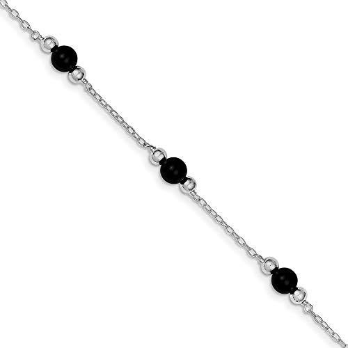 925 Sterling Silver 9 Inch Black Onyx Anklet Ankle Beach Chain Bracelet Fine Jewelry For Women Gifts For Her