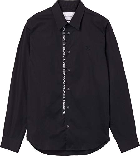 Calvin Klein Jeans Logo Tape Shirt Camicia, CK Nero, L Uomo