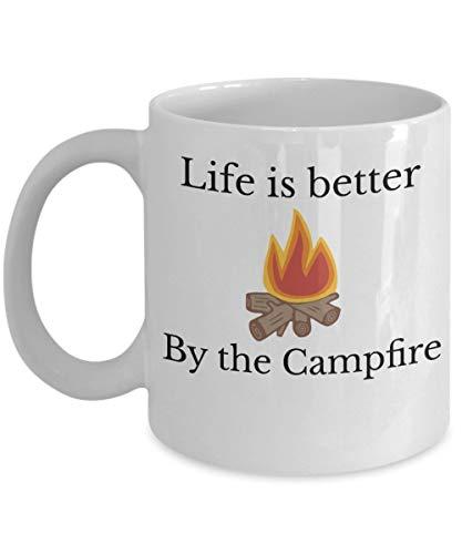 N\A Camping Becher Leben ist Besser durch Lagerfeuer Kaffee Tee Tasse Geschenk Neuheit Camper im Freien FKK lustige Tasse mit Sprüchen
