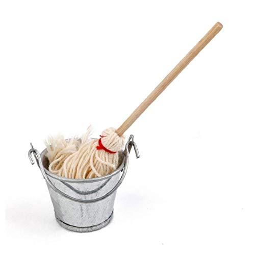 shentaotao 1/12 Casa De Muñecas En Miniatura De La Fregona Cubo Mini Lindo Mop Bucket Juego De Cocina Inicio De Accesorios para Decorar La Casa Jardín