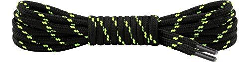 Ladeheid Qualitäts-Schnürsenkel LAKO1003, Elastische Rundsenkel für Arbeitsschuhe und Trekkingschuhe aus 100% Polyester, ø ca. 5 mm Breit, 25 Farben, 60-220 cm Länge (Schwarz/Neon Grün, 90 cm/ø 5 mm)
