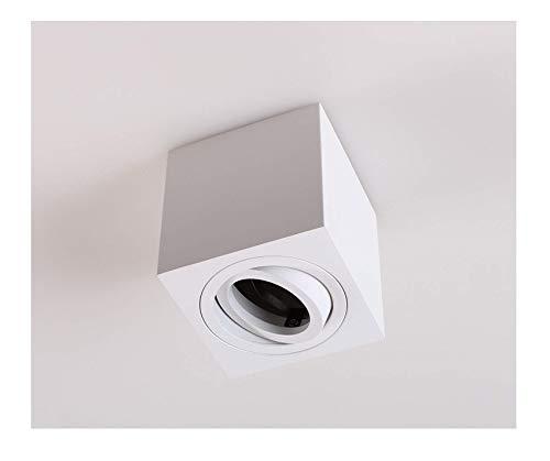 Aufbauleuchte Aufbaustrahler Unterbauleuchte/Helitec-1124 mit GU10 Fassung/weiß eckig Aufbauspot Spot Deckenleuchte Deckenspot Möbelleuchte Schrankleuchte