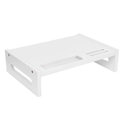 SONGMICS Natuurlijke Bamboe Monitor Stand Riser Desk Organizer 41 x 28 x 10 cm Kleur: wit