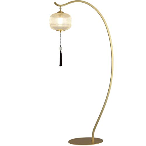 Lámpara De Pie 67' estilo moderno chino estilo chino Lámpara colgante de jade borla de cristal retro Ambiente de oro estándar de la lámpara for la sala de té Lámpara De Piso