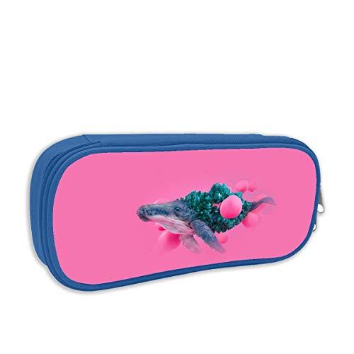 Lawenp Drucken Sie Bleistiftbeutel Whale Pink Bubble Illustration Tragbare Stifthalter Beutel Briefpapier Organizer Fall mit Reißverschluss