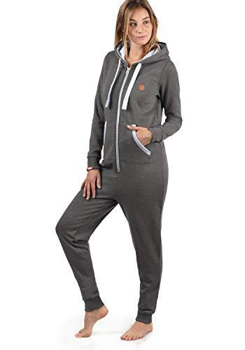 DESIRES Benna Damen Jumpsuit Overall Einteiler Mit Kapuze, Größe:S, Farbe:Grey Melange (8236)