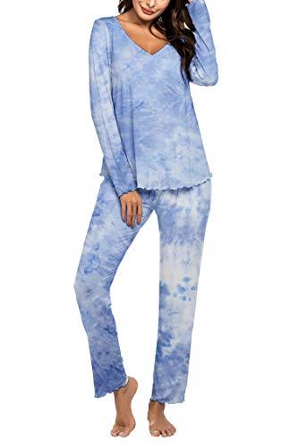 MAXMODA Pyjama Langarm Damen Einfarbige Pyjama Set, Zweiteiliger Modal Langarm...