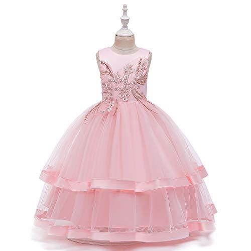 YSpoe Fashion Kinder Mädchen Prinzessinnenkleid ärmellos Blumenmuster Bestickt Mesh Tutu Rock...
