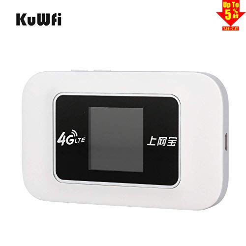 KuWFi Unlocked Travel Partner 4G WiFi Router 4G WiFi LTE dongle Router Wireless Mobile WiFi Hotspot 3G 4G WiFi Router with SIM Card Slot (not Including SIM Card) can not Work US 4G SIM Card