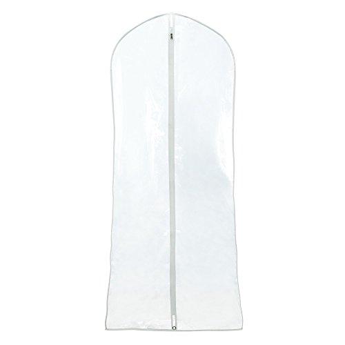 HANGERWORLD 2 Clear 72 Inch Showerproof Wedding Dress Ball Gown Garment Cover Bags with White Trim