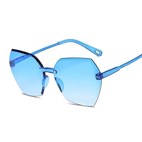 NNAA Gafas de sol de color caramelo Gafas de sol cuadradas sin marco para mujer Gafas de gradiente retro para hombre