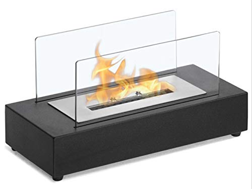 N / A Rectangle Tabletop Bio Ethanol Fireplace, Indoor Outdoor Fire Pit, Portable Fire Bowl Pot In Black, Realistic Burning
