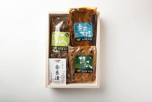 奈良漬 セット 木箱 詰め合わせ 個包装 瓜 守口大根 胡瓜 各一袋 ピンクの風呂敷包み
