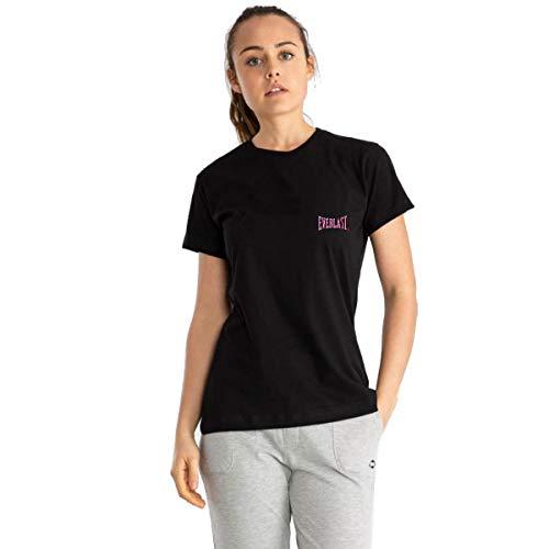 Everlast Camiseta de mujer de manga corta deportiva bajo mono de cuello redondo negro o rosa coral Negro M