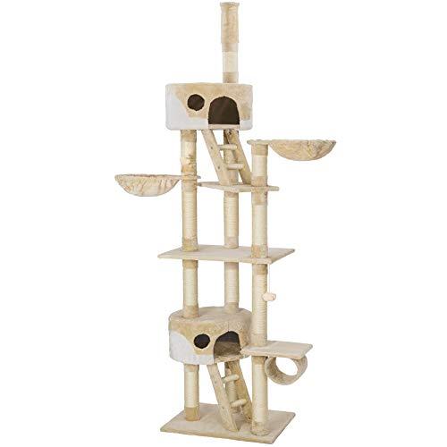 TecTake Kratzbaum Katzenbaum für Katzen - deckenhoch (höhenverstellbar von 240-260cm) - Diverse Farben - (Beige-Weiß | Nr. 401639)