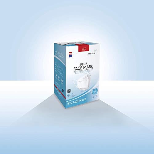 ADVIVIT Mascarilla AVENTRIUM FFP2 original - respirador certificado CE 2233 sin válvula de Austria de 5 capas | con filtro máscara protectora protección respiratoria n95 (25, blanco)