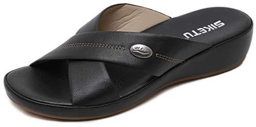 ChayChax Sandalias con Punta Abierta para Mujer Mules de Cuña Cómodas Pantuflas de Cuero Moda Plataforma Zapatillas de Verano Antideslizante, B Negro, 42 EU