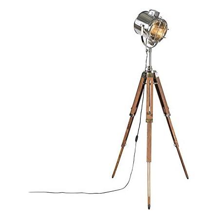 Qazqa Lampadaire | Lampe sur pied | Trépied Industriel - Shiny Lampe Chrome Marron - E27 - Convient pour LED - 1 x 40 Watt